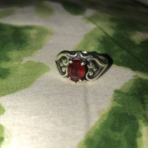 James Avery Scrolled Heart Ring with Garnet